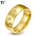 TT Gold-Tone Stainless Steel Multi-CZ Wedding Band Comfort fit Ring (R202)