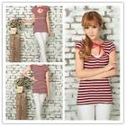 Red Striped Cotton Blended Women T Shirt Blouse Tops Sexy Belt Neck Casual Dress