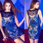 FD329 Sparkle Embellished Floral Print Sleeveless Hip-wrapped Womens Mini Dress
