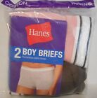 New 2-pair Hanes Women's Cotton Sporty Boy Briefs - Size 5 or 6 - Pink Brown