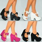 LADIES WOMENS SUEDE PU LEATHER CHUNKY WEDGED PLATFORMS WEDGES HIGH HEELS SHOES