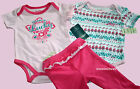 LUCKY BRAND BABY GIRLS SET OF 2 PINK PAISLEY BODYSUITS SHIRT + PANTS 3PC SET NEW