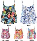 Women Summer Floral Print Chiffon Frill Strappy Swing Vest Crop Top UK 6-16
