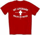 NEW Christian T-Shirt by Kerusso MY LIFEGUARD Red Jesus Walks On Water Cross