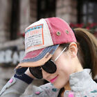 Womens Girls Solid Washed Denim Cotton Curved Bill Cap Golf Baseball Ball Hat