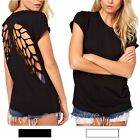 Casual Womens Punk Laser Backless Hollow Angel Wings Cut Out Blouse Tops T-shirt