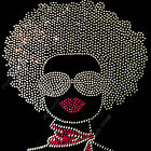 "Rhinestone Transfer "" Afro Girl "" in Crystal & Pink or Black & Pink, Iron On"