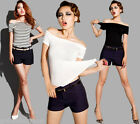 Sexy Off-the-shoulder Stretchy Short Sleeves Women T-shirt Tee Club Top