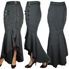 Steampunk Pinstripe Fishtail Long Skirt Punk Gothic Retro Rockabilly Costume