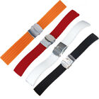 Mens Diver Silicone Rubber Deployment Buckle Watch Strap Band 18-24mm Waterproof
