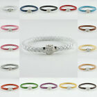 """1X New Clear Crystal Magnetic Clasps PU Leather Colorful Bracelet Bangle 8"""""""