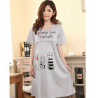 Women Pregnant Nursing Cotton Dress Sleep Wear Cartoon Cat Maternity DressWAY013