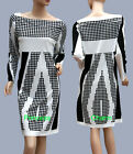 Womens Long Sleeve Shift Dress Black White Geometric Print Large Size 10 12 16