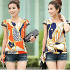 Vintage Summer Women's Chiffon Short Sleeve Casual Printed T-shirt Tops Blouse