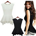 Pretty Women's Sleeveless Crew-Neck Slim Fit Blouse Top Dress Summer Vest Shirts