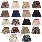 Summer Retro High Waist Pleated Florals Chiffon Pantskirt Short Mini Belt Skirts