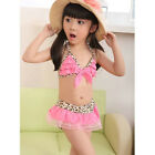 New Girls Kid Baby Leopard Swimsuit Swimwear Beach Bikini Sets 2-7 Years
