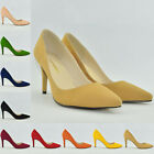 Ladies Faux Suede Pointed Toe High Heel Work Office Pumps Court Shoes UK 2-9