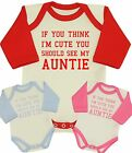 Baby Clothes CUTE AUNTIE Long Sleeve Fun Slogans Bodysuit Vest Creeper One Piece