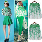 Women Lady Sweet Lace Hollow Out Willow Leaf Chiffon Shirt/Skirt/Pants Tops 2014