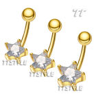 TT Clear CZ Star Gold-Tone  Belly Bar Ring (BL146J)