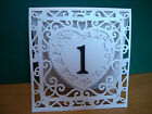 Wedding Table Numbers Handmade Shimmer Card Different Colours Free Standing
