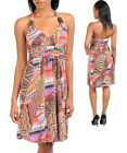 WOMENS Dress Summer Sun Paisley Abstract Geometric Print beaded S M L XL