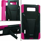BLACK & HOT PINK T-Stand Hybrid Cover for LG Optimus Venice LG730