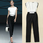 Summer Womens Black & White Splicing Long Jumper Jumpsuit Romper Pants XS S M L