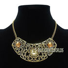 BLING FACETED FAUX GEMSTONES PENDANT BIB NECKLACE VINTAGE RETRO GOLDEN CHAIN NEW
