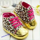 Baby Girl's Leopard Gold Crib Shoes Infant Cute Walking Sneaker Shiny Shoes Hot