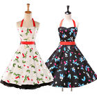 RETRO 50'S STYLE RED CHERRY NEW SWEET LOOK ROCKABILLY SWING VINTAGE FLORAL DRESS
