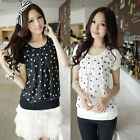 Women's Fashion Tops Short Sleeve Chiffon Polka Dot Shirt Pieced Casual Blouse