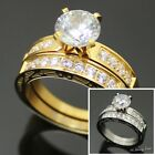 2 Pcs Women Stainless Steel Gold/Silver 1.76 CT CZ Engagement Wedding Ring*R62