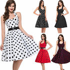 Multi Style Vintage 1950s Polka Dots Cotton Halter Swing Pinup Dress