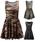 Ladies Animal Printed Skater Womens Belted Wet Look Plain Dress Plus Size 20 22