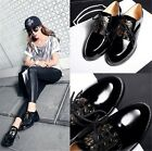 Womens Black Retro Genuine Leather Lace Up Chunky Heel Oxford Loafers Shoes K66