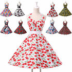 ROCKABILLY Vintage 1950s style Floral Polka dots Summer Party Prom Swing dress e
