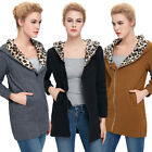 Korean Fashion Leopard -Printed-Hoody -Neck Womens Warm Hooded Coats & Jackets