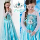 Girls Frozen Queen Elsa Costume Party Birthday Dress + Cape 3-8Y