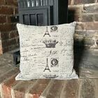 Handmade Shabby Chic Paris Natural LINEN Cotton Cushion Cover. Various sizes