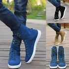 Fashion Men's Spike Punk Studded Rivet Shoes Lace Up Flat Heel Zip Ankle Boots