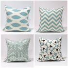 "20x20"" Village Blue / Natural Throw Pillow Cover / Case/kidney /sham, TossPillow"