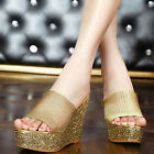 Women Shoes Slippers Leather Wedge Heel High Platform Hollow Out Mesh Sandals