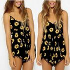 Women Sexy V-neck Vintage sunflower Print Jumpsuit Hot Pants Playsuit Shorts-LJ