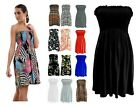 LADIES SUMMER BOOBTUBE BANDEAU SHORT STRAPLESS PRINTED TOP DRESS SIZE 8-22