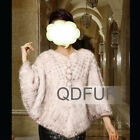 Genuine Knitted Mink Fur Shawl Women Casual Style Warm Cape Winter Soft Wrap New