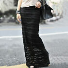 New Women's Lace Overlay Double-Layered Dress Bodycon Fit Sheer Maxi Skirt