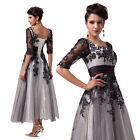 Half Sleeve Retro Style Evening Formal Party Ball Gown Prom Wedding Long Dress +