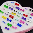 New 72pcs Mix SIze Cubic Zirconia Fashion Stud Earrings for Womens Wholesale Lot